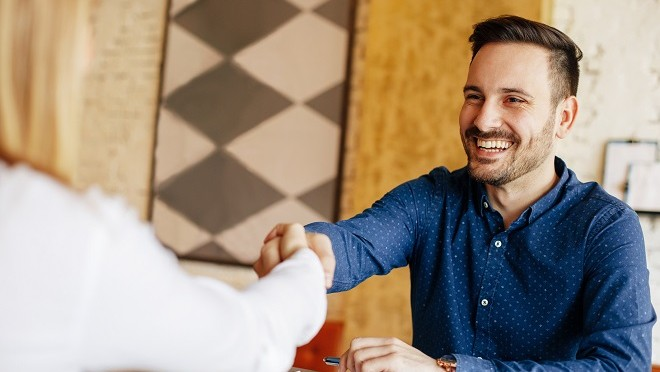 Interviewer meeting a candidate-Hays careers advice