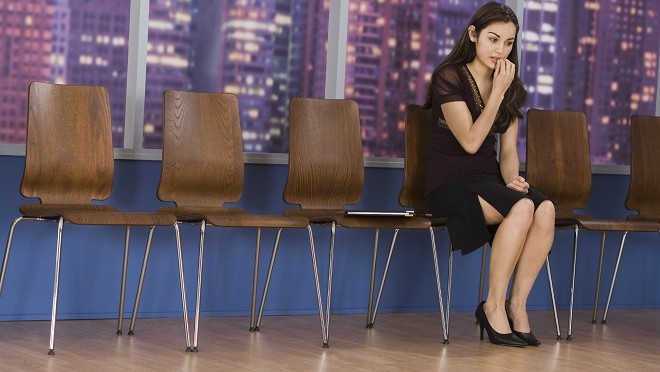 Businesswoman in a waiting room - Viewpoint, careers advice