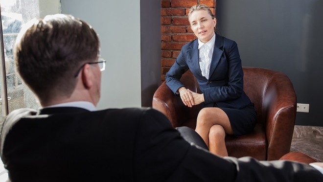 Businesswoman in a meeting asking for a pay rise - Viewpoint, careers advice